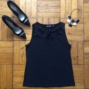 New York And Company | Black Criss Cross Neck Top